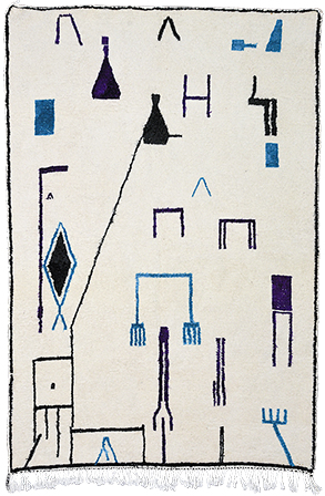 Blue & Black Abstract Rug 1032