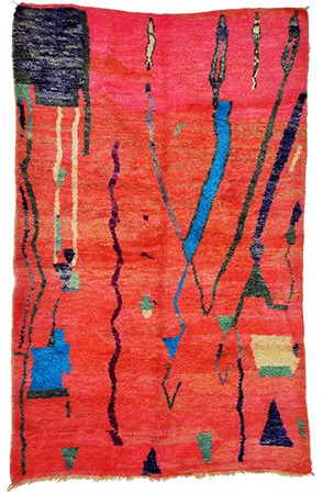 Red Abstract Rug 1017